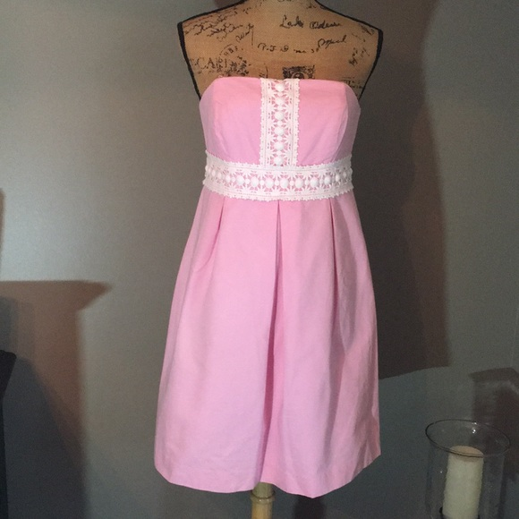 Lilly Pulitzer Dress strapless lace detail size 6